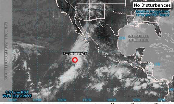 Depresión 14-E evolucionaría esta noche a tormenta: CNH (20:30 h)