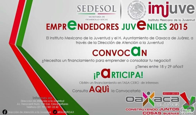 """Convocan a oaxaqueños a participar en programa """"Emprendedores Juveniles 2015"""" (11:07 h)"""